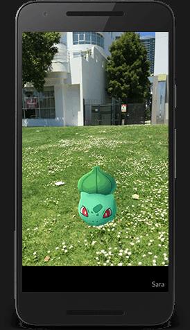 Augmented Pokemon Go capture view from Pokemongo dot com