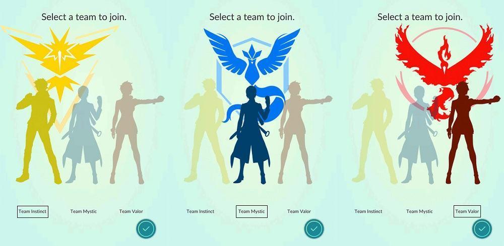 Pokemon-Go-teams Mystic Instinct Valor